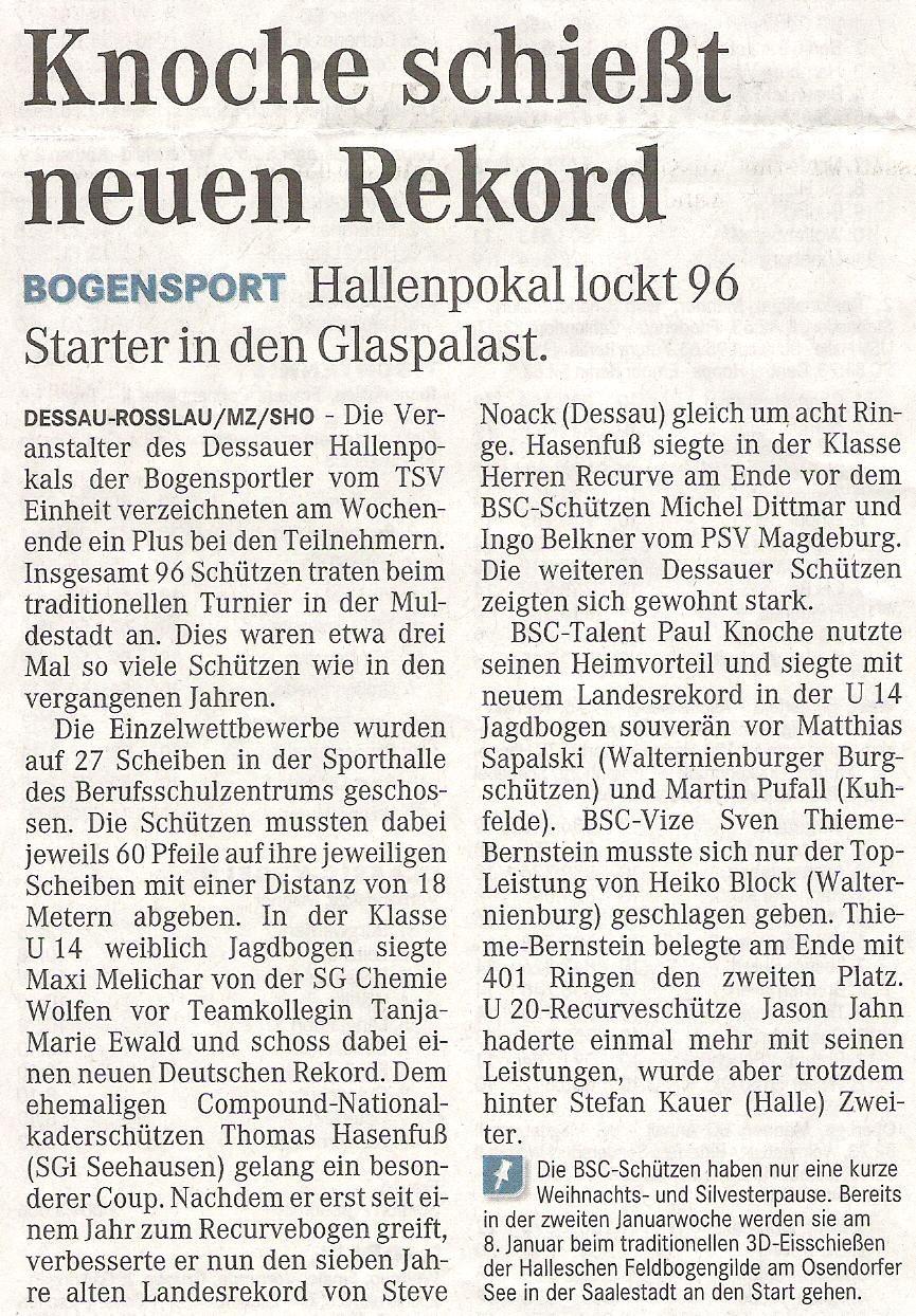 Dessauer Hallenpokal – Mitteldeutsche Zeitung vom 14.12.2010
