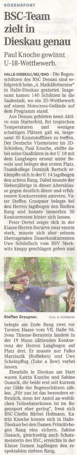 6. Dieskauer Maikäferturnier – Mitteldeutsche Zeitung vom 07.06.2011