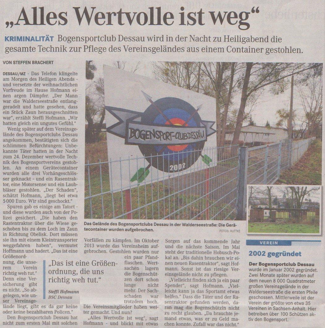 Einbruchdiebstahl an Heiligabend – Mitteldeutsche Zeitung vom 27.12.2014