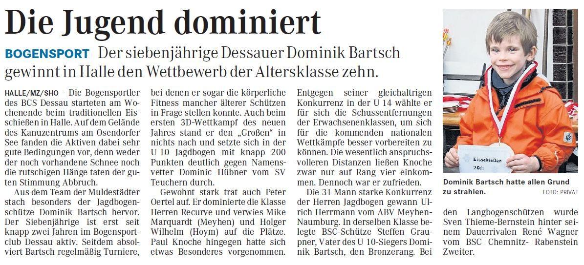 Eisschießen in Halle – Mitteldeutsche Zeitung vom 12.01.2011