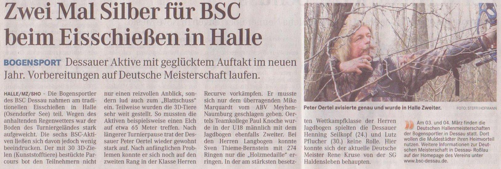 Eisschießen in Halle – Mitteldeutsche Zeitung vom 12.01.2012