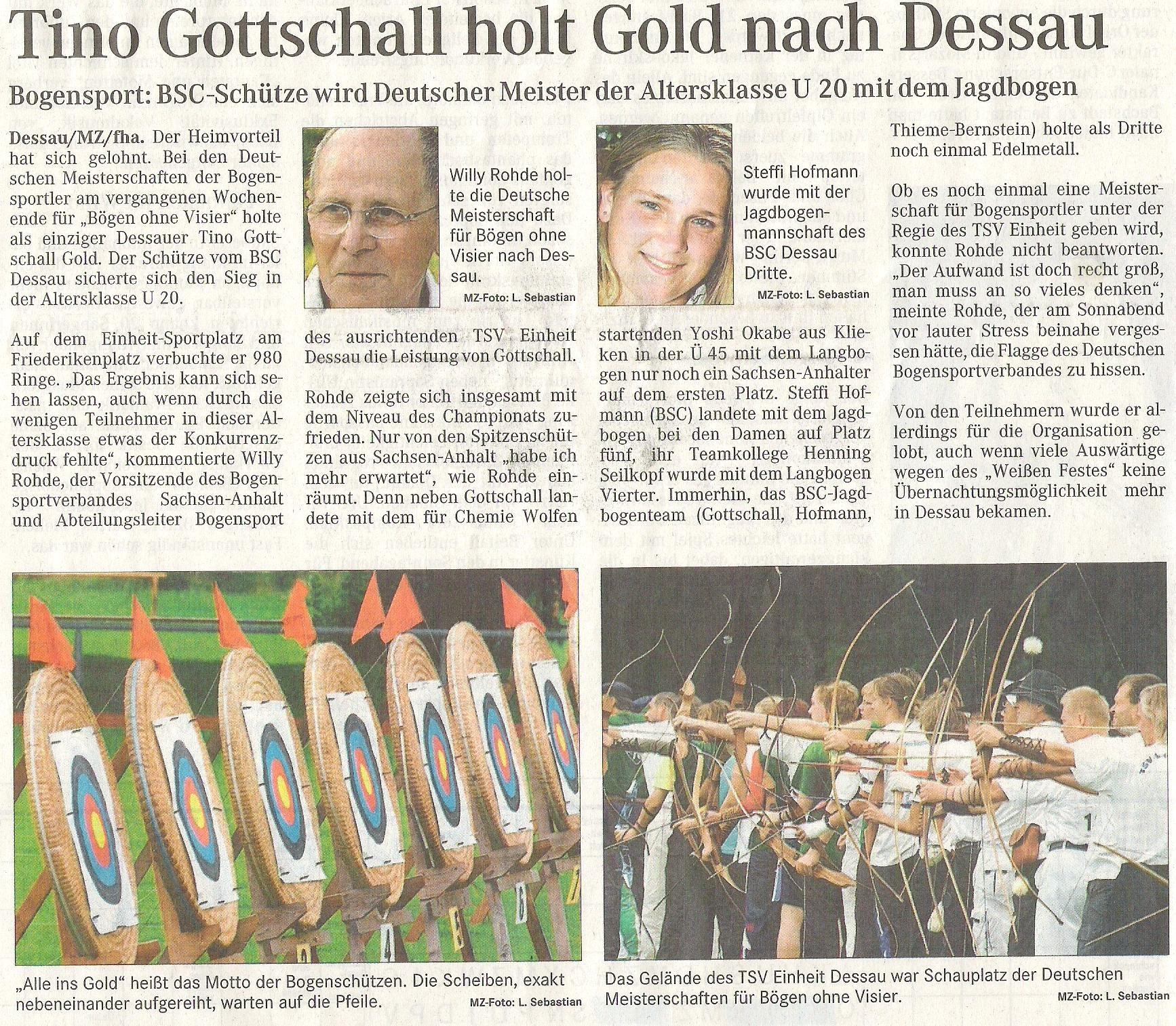 DM FITA Bögen ohne Visier in Dessau – Mitteldeutsche Zeitung vom 04.09.2006