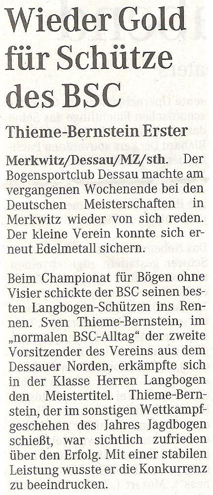 DM FITA Bögen ohne Visier in Merkwitz – Mitteldeutsche Zeitung vom 04.09.2007