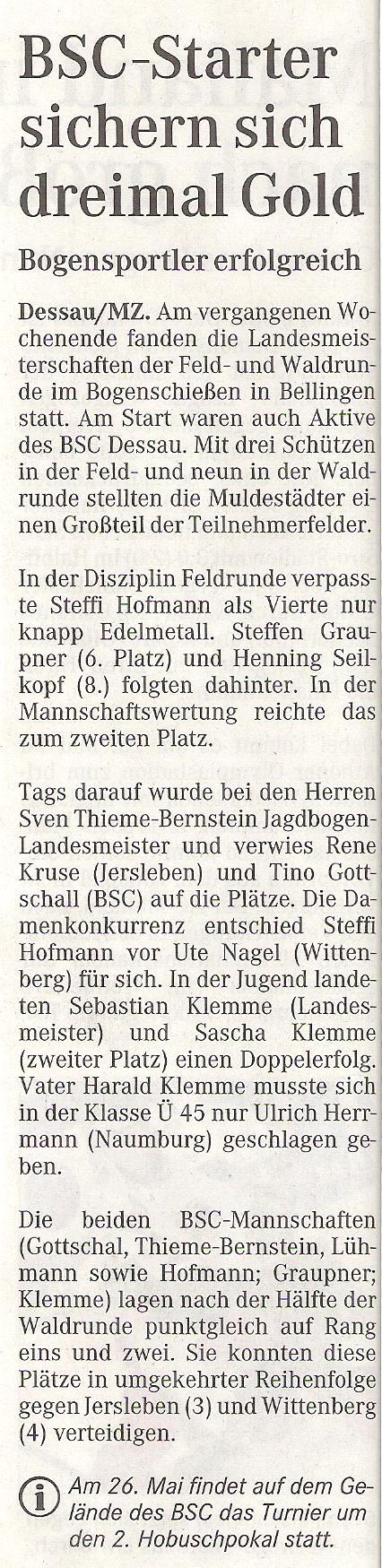 FeldWaldLM Feld- und Waldrunde – Mitteldeutsche Zeitung vom MZ v. 02.05.2007