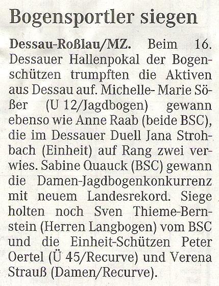 Dessauer Hallenpokal – Mitteldeutsche Zeitung vom 04.12.2007