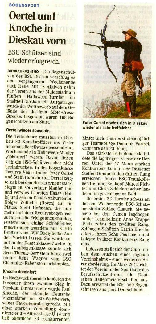 Halloweenturnier – Mitteldeutsche Zeitung vom 03.11.2010
