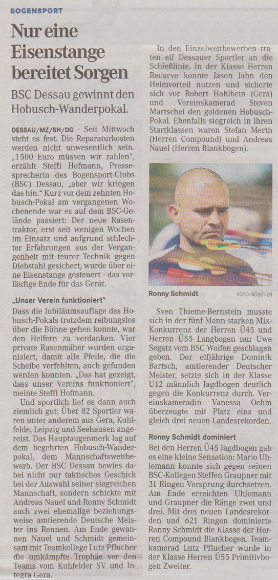 10. Hobusch-Wanderpokal – Mitteldeutsche Zeitung vom 07.05.2015