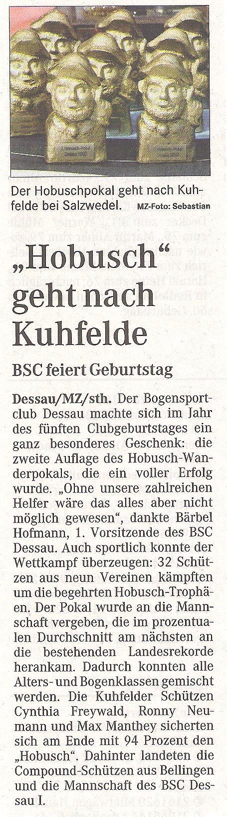 2. Hobusch-Wanderpokal – Mitteldeutsche Zeitung vom 28.05.2007