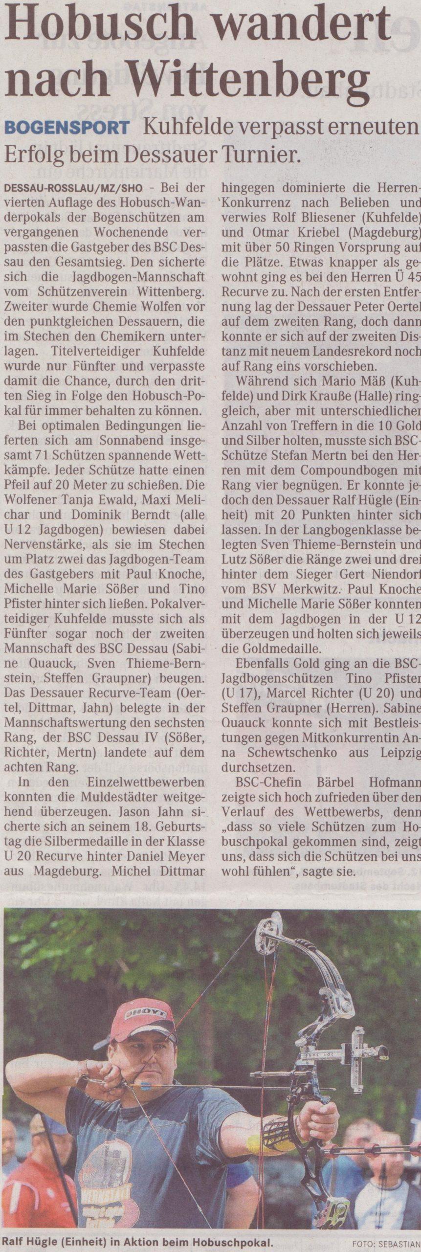 4. Hobusch- Wanderpokal – Mitteldeutsche Zeitung vom 19.05.2009