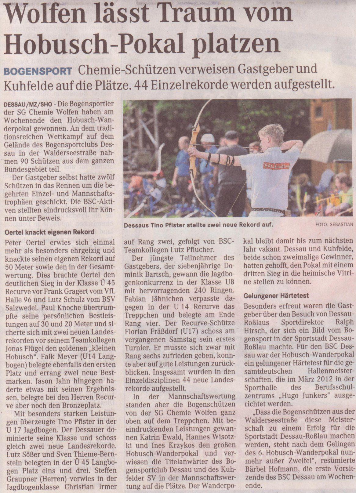 6. Hobusch- Wanderpokal – Mitteldeutsche Zeitung vom 16.05.2011