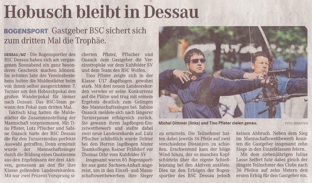 7. Hobusch- Wanderpokal – Mitteldeutsche Zeitung vom 14.05.2012