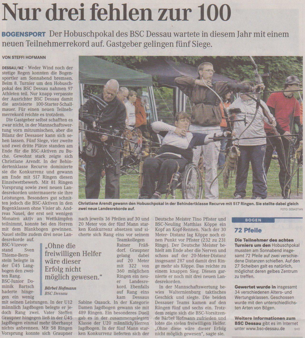 8. Hobusch- Wanderpokal – Mitteldeutsche Zeitung vom 28.05.2013