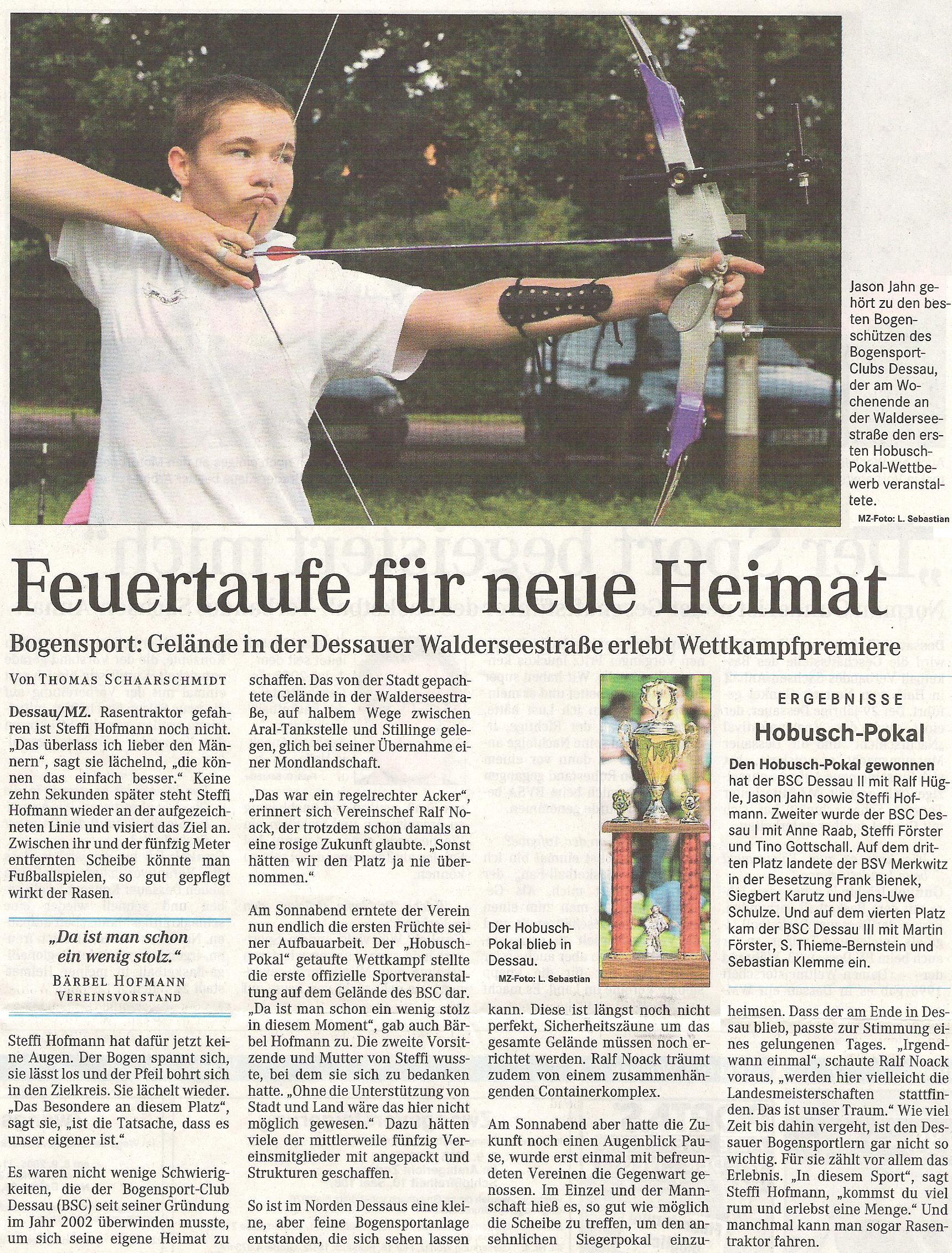 1. Hobusch-Wanderpokal – Mitteldeutsche Zeitung vom 08.08.2005