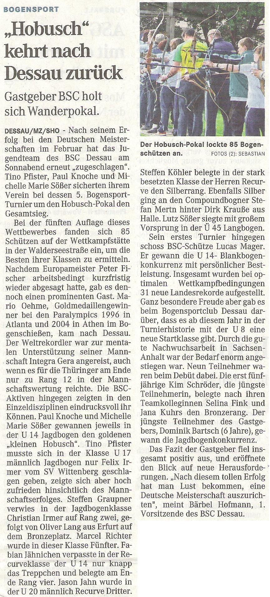 5. Hobusch- Wanderpokal – Mitteldeutsche Zeitung vom 10.05.2010