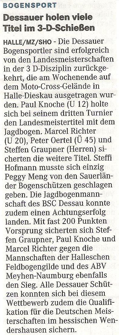 Landesmeisterschaft 3D – Mitteldeutsche Zeitung vom 31.03.2009