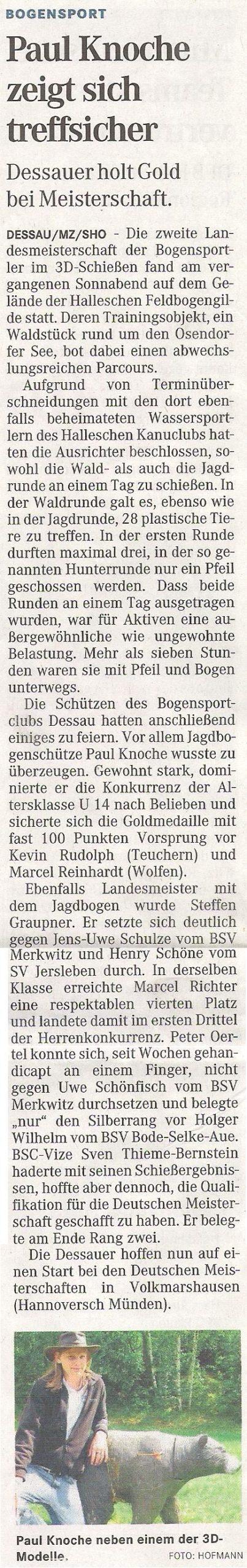 Landesmeisterschaft 3D – Mitteldeutsche Zeitung vom 22.06.2010