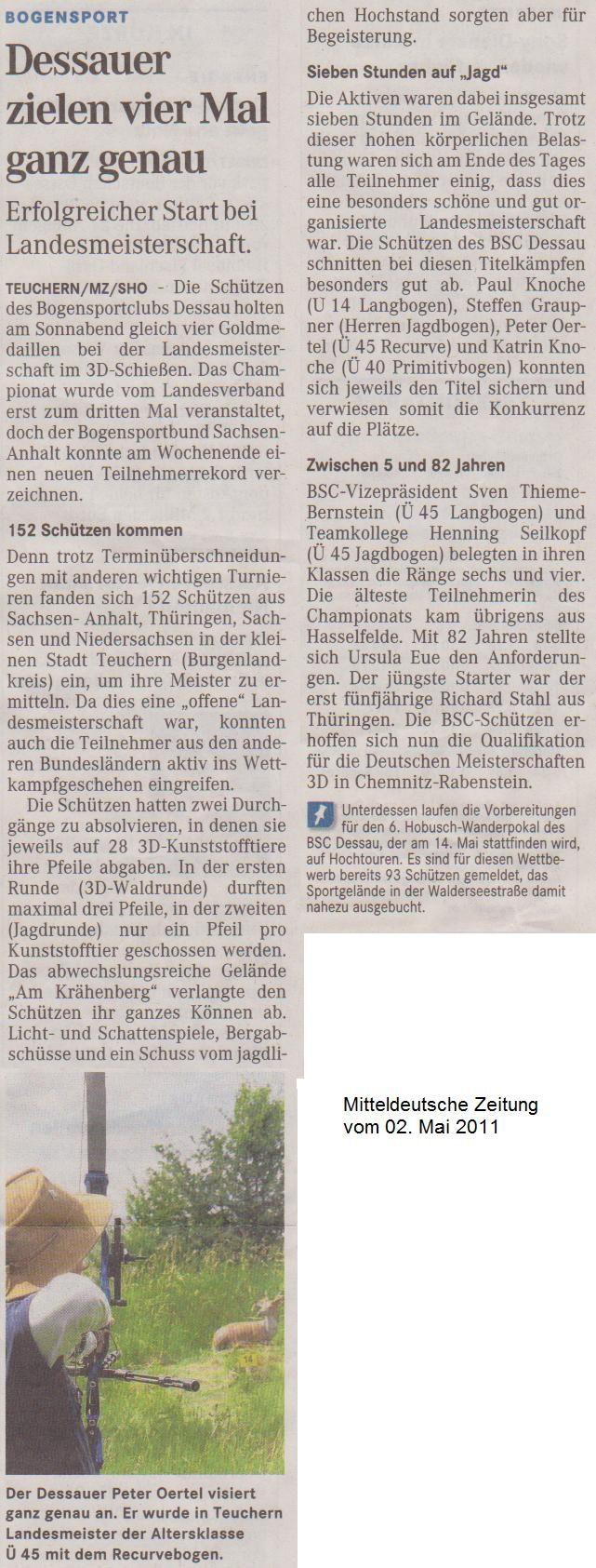 LM 3D in Teuchern – Mitteldeutsche Zeitung vom 02.05.2011