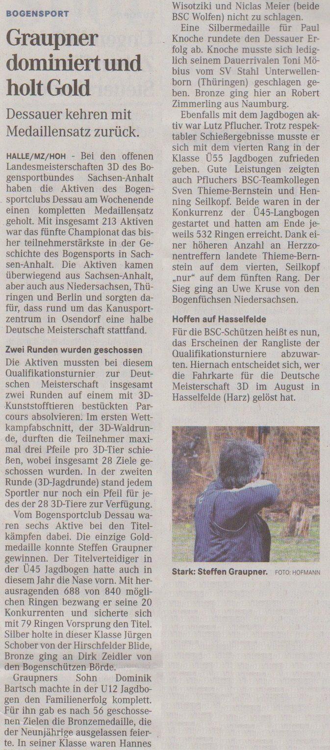 Landesmeisterschaft 3D – Mitteldeutsche Zeitung vom 15.04.2013