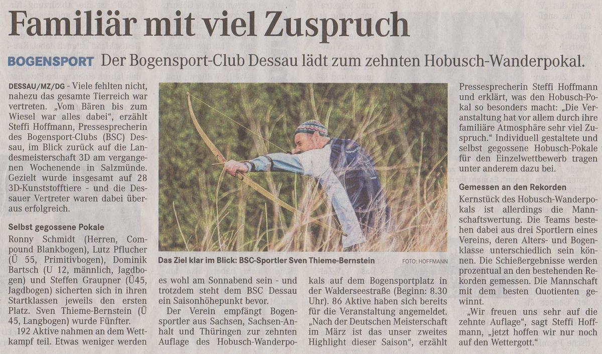 LM 3D und Ankündigung 10. Hobusch-Wanderpokal – Mitteldeutsche Zeitung vom 30.04.2015