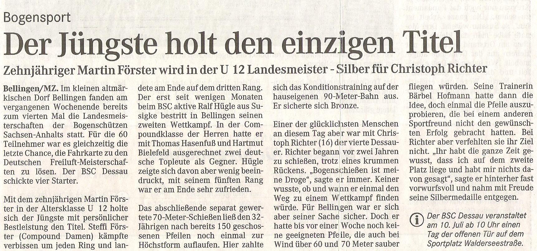 Landesmeisterschaft  Fita Scheibe in Bellingen -Mitteldeutsche Zeitung (Juni 2004)