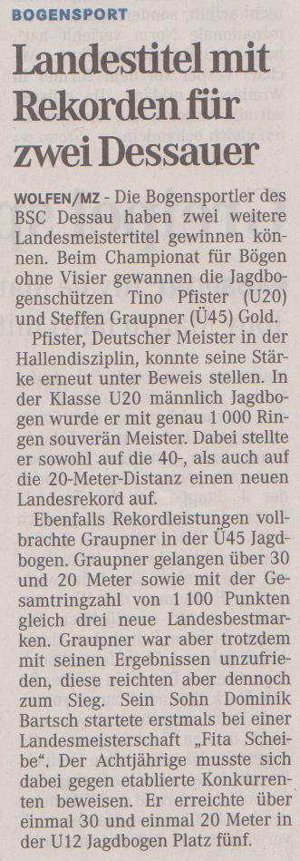 Landesmeisterschaft Fita Scheibe für Bögen ohne Visier – Mitteldeutsche Zeitung vom 05.07.2012