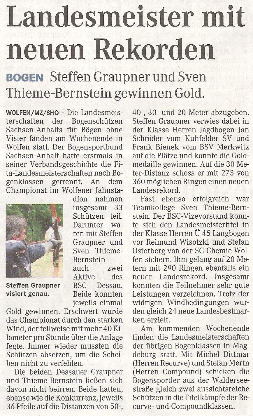 LM Fita Scheibe  für Bögen ohne Visier – Mitteldeutsche Zeitung vom 21.06.2011