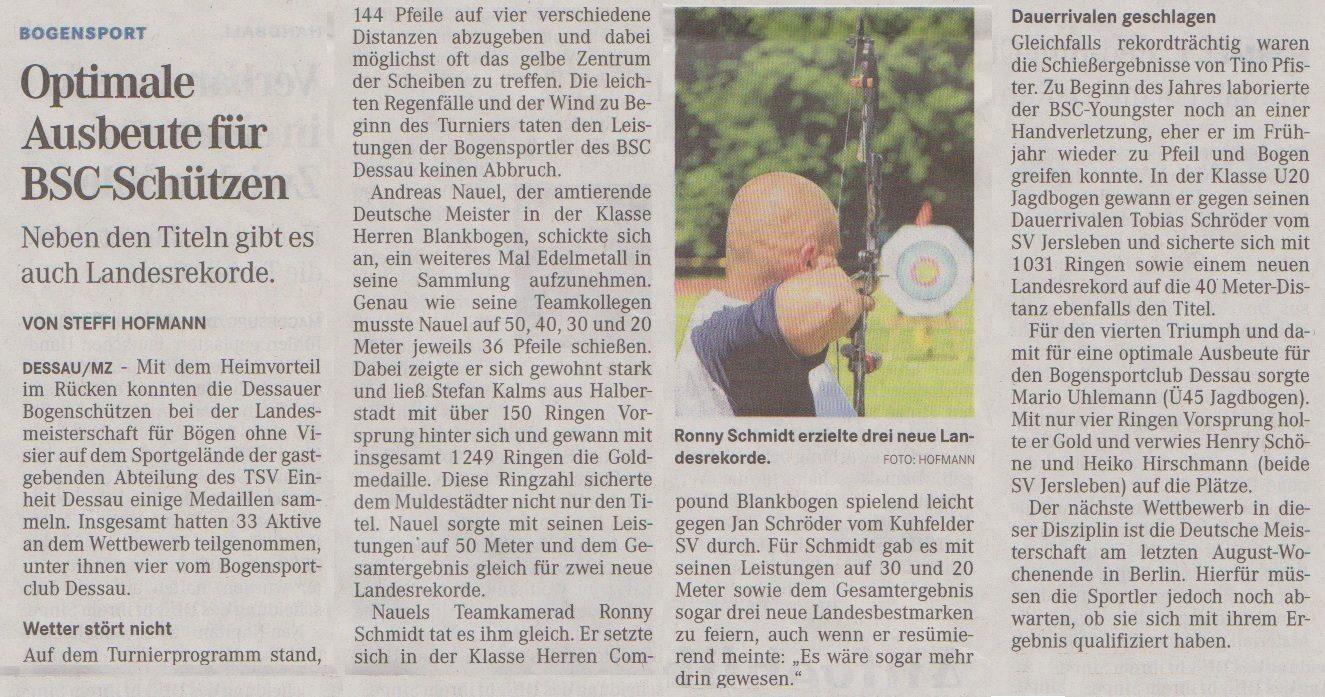LM Bögen ohne Visier – Mitteldeutsche Zeitung vom 18.06.2014