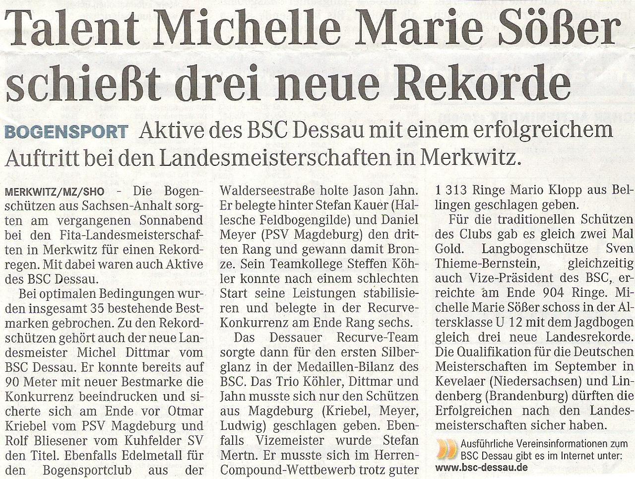 LM FITA Scheibe in Merkwitz – Mitteldeutsche Zeitung vom 02.07.2009