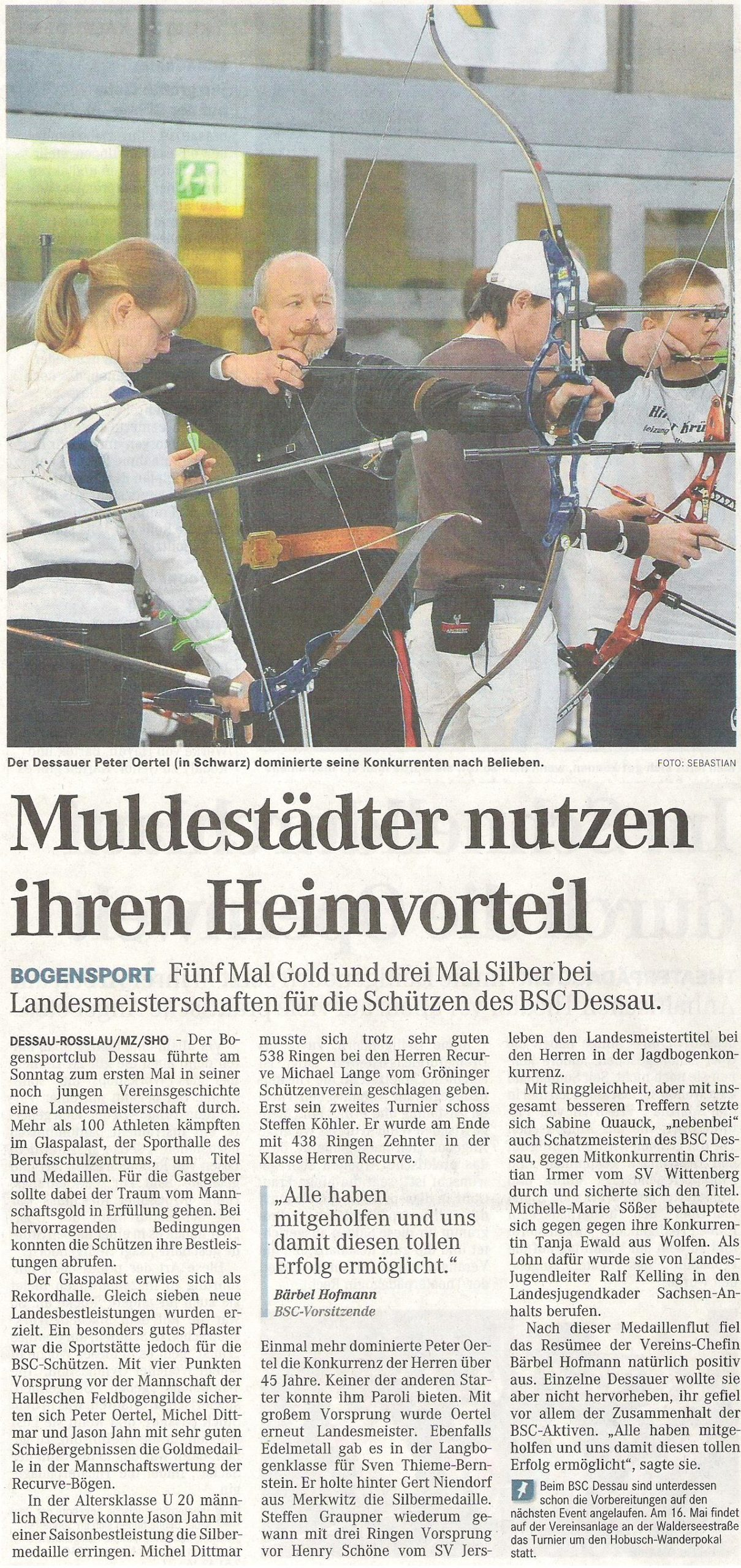 LM Fita Halle – Mitteldeutsche Zeitung vom 13.01.2009