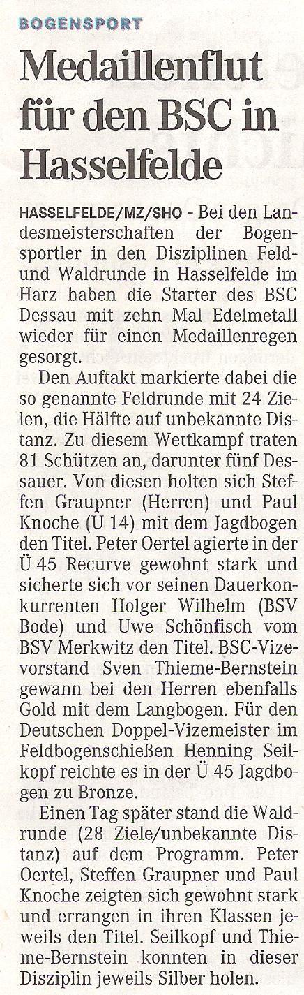 LM Feld- und Waldrunde in Hasselfelde – Mitteldeutsche Zeitung vom 11.05.2011