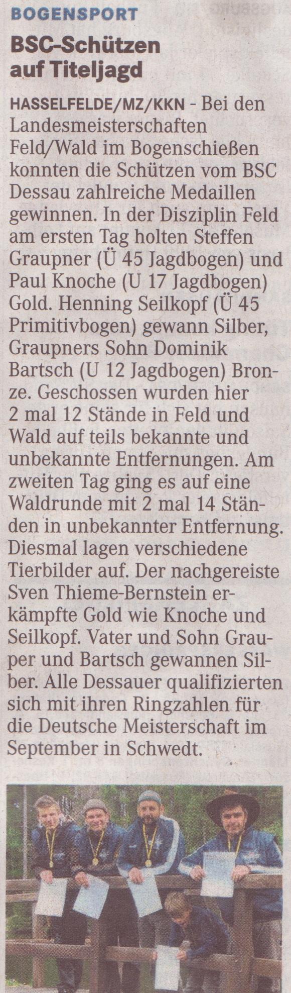 Landesmeisterschaft Feld- und Waldrunde – Mitteldeutsche Zeitung vom 19.05.2012