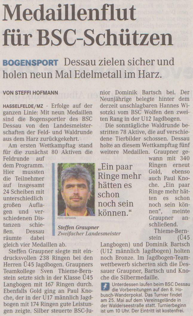 LM Feld- und Waldrunde – Mitteldeutsche Zeitung vom 08.05.2013