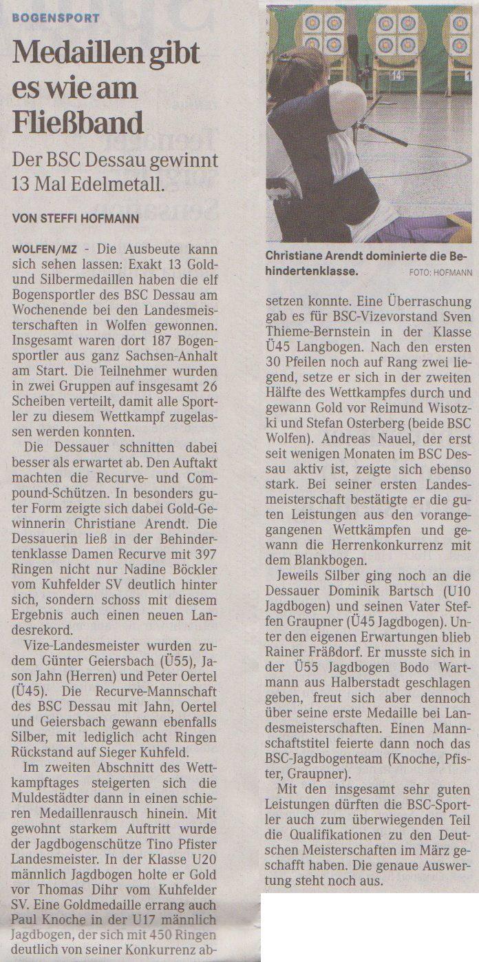 LM Fita Halle – Mitteldeutsche Zeitung vom 24.01.2013