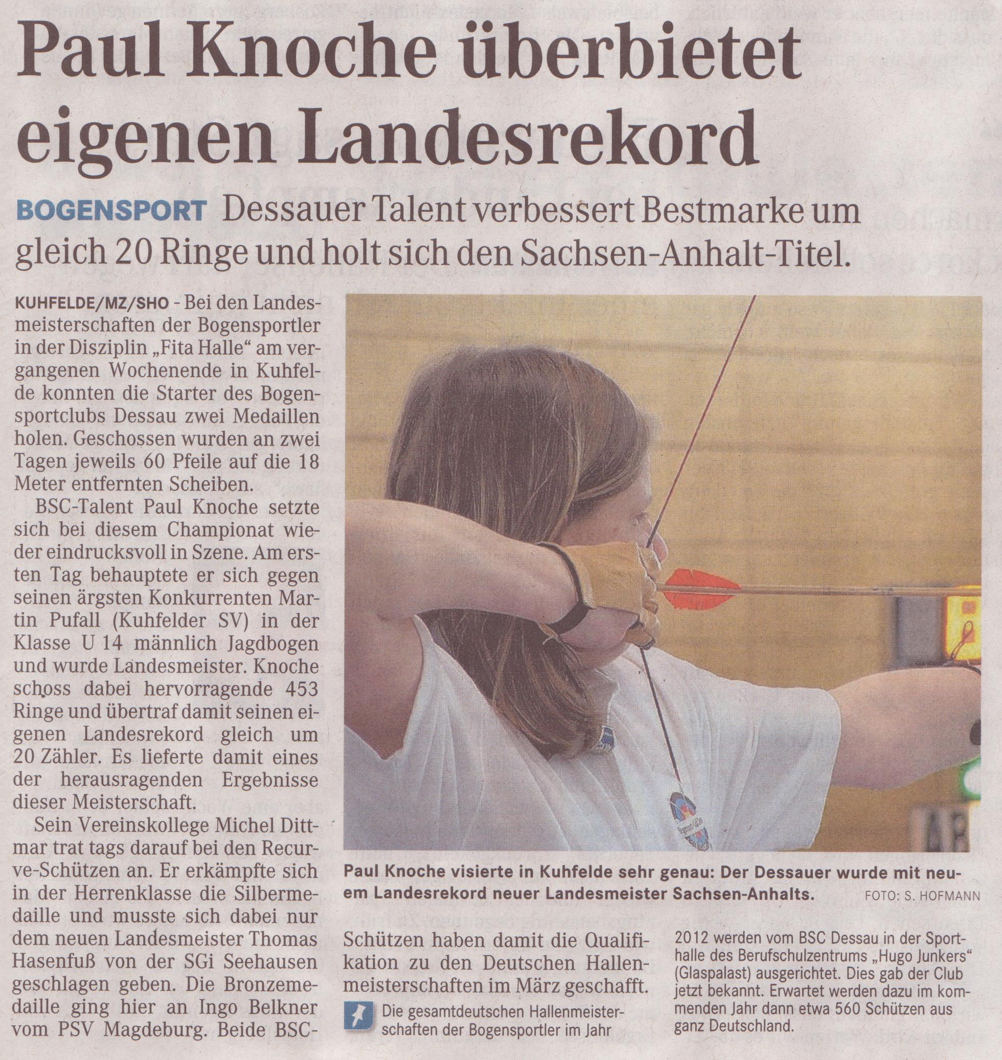 LM Fita Halle – Mitteldeutsche Zeitung vom 01.02.2011