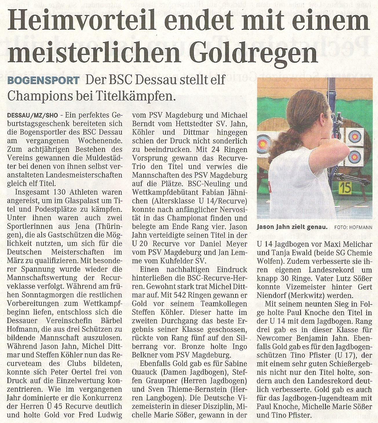 LM FITA Halle in Dessau – Mitteldeutsche Zeitung vom 27.01.2010