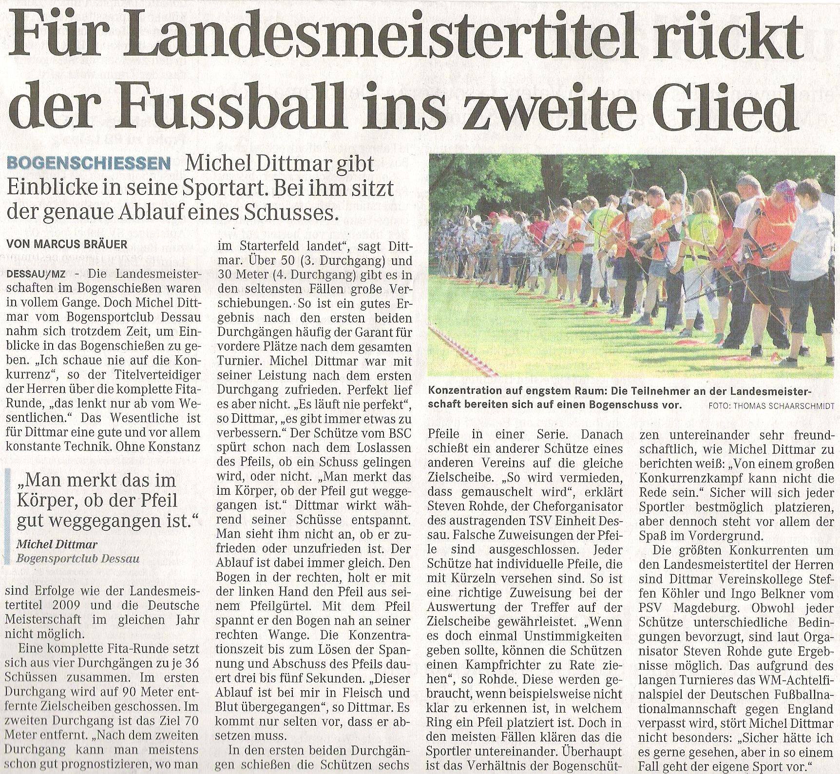 LM Fita Scheibe – Mitteldeutsche Zeitung vom 28.06.2010