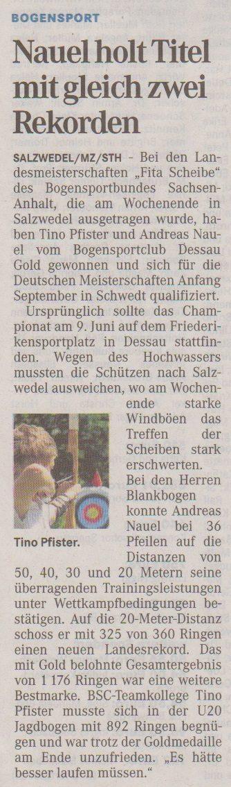 LM Fita Scheibe des BSSA – Mitteldeutsche Zeitung vom 24.06.2013