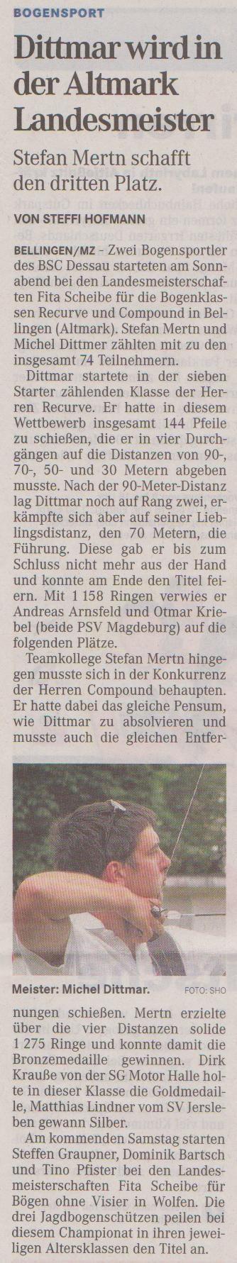 Landesmeisterschaft Fita Scheibe für Recurve und Compound – Mitteldeutsche Zeitung vom 04.07.2012