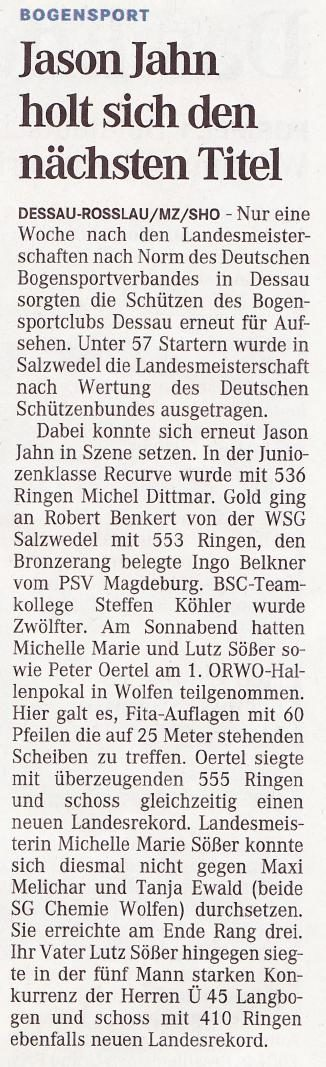 LM LSV und ORWO-Hallenpokal – Mitteldeutsche Zeitung vom 04.02.2010