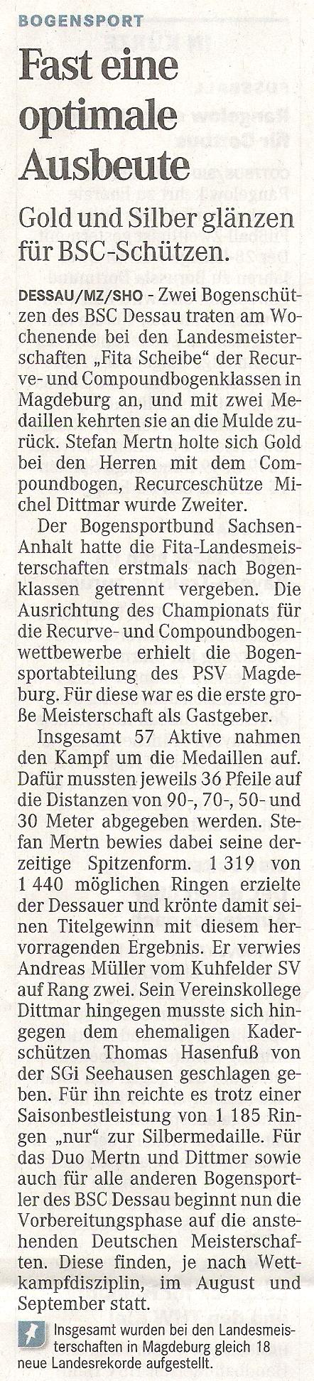 LM Fita Scheibe  für Recurve und Compound – Mitteldeutsche Zeitung vom 29.06.2011