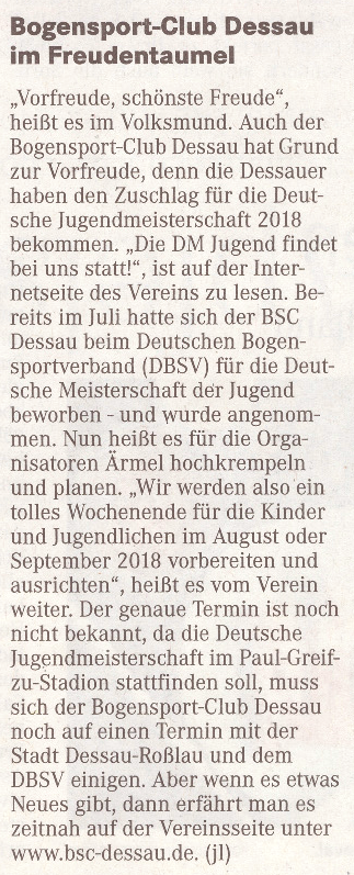 Zuschlag für die DM Jugend 2018 – Mitteldeutsche Zeitung vom 15.10.2016