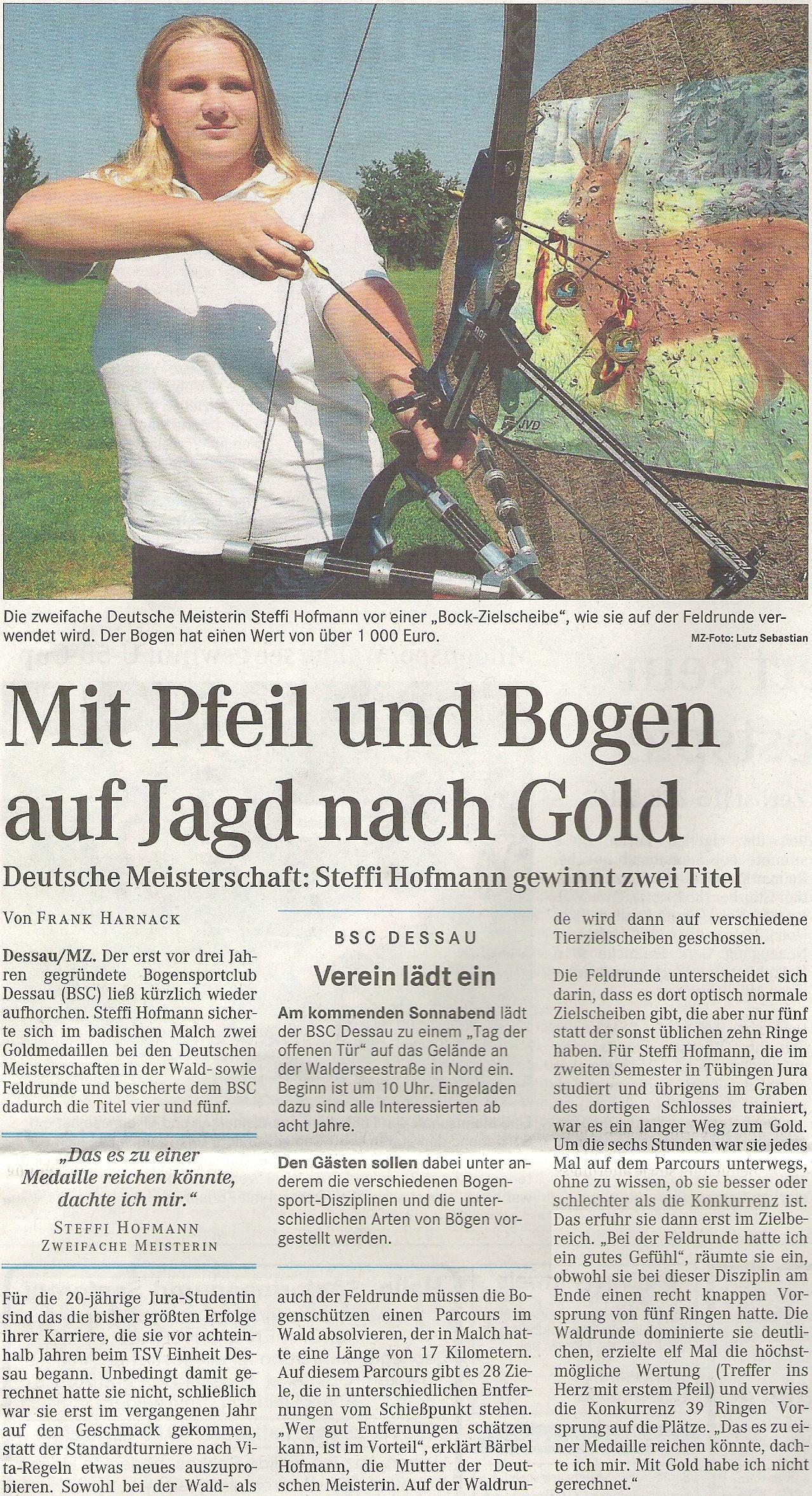DM Feld / Wald in Malsch – Mitteldeutsche Zeitung vom 23.08.2005