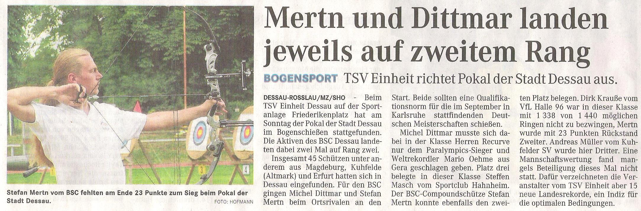 Pokal der Stadt Dessau – Mitteldeutsche Zeitung vom 15.06.2011