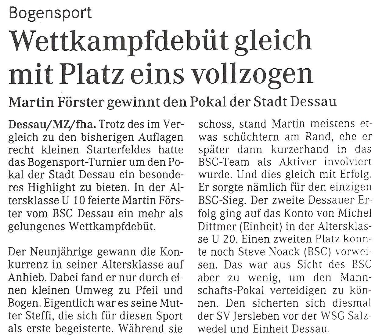 Pokal der Stadt Dessau 2003 – Mitteldeutsche Zeitung (Juni 2013)