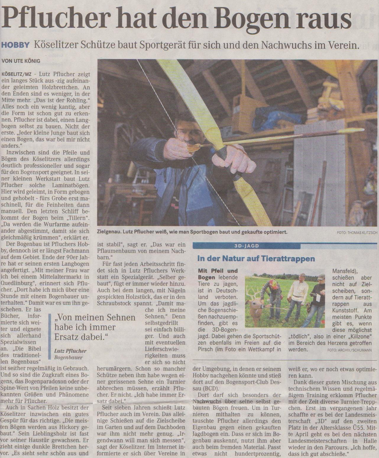 Portrait über Lutz Pflucher – Mitteldeutsche Zeitung (Coswig) vom 03.04.2013