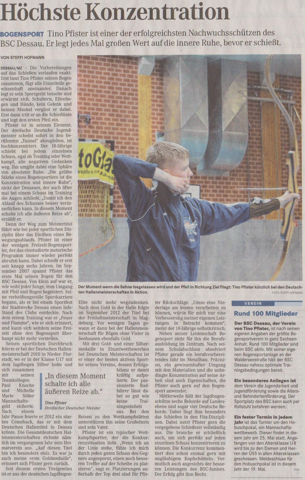 Portrait über Tino Pfister – Mitteldeutsche Zeitung vom 04.04.2013