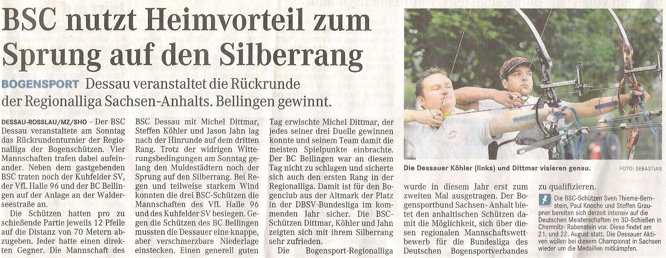 Regionalliga Rückrunde – Mitteldeutsche Zeitung vom 02.08.2011