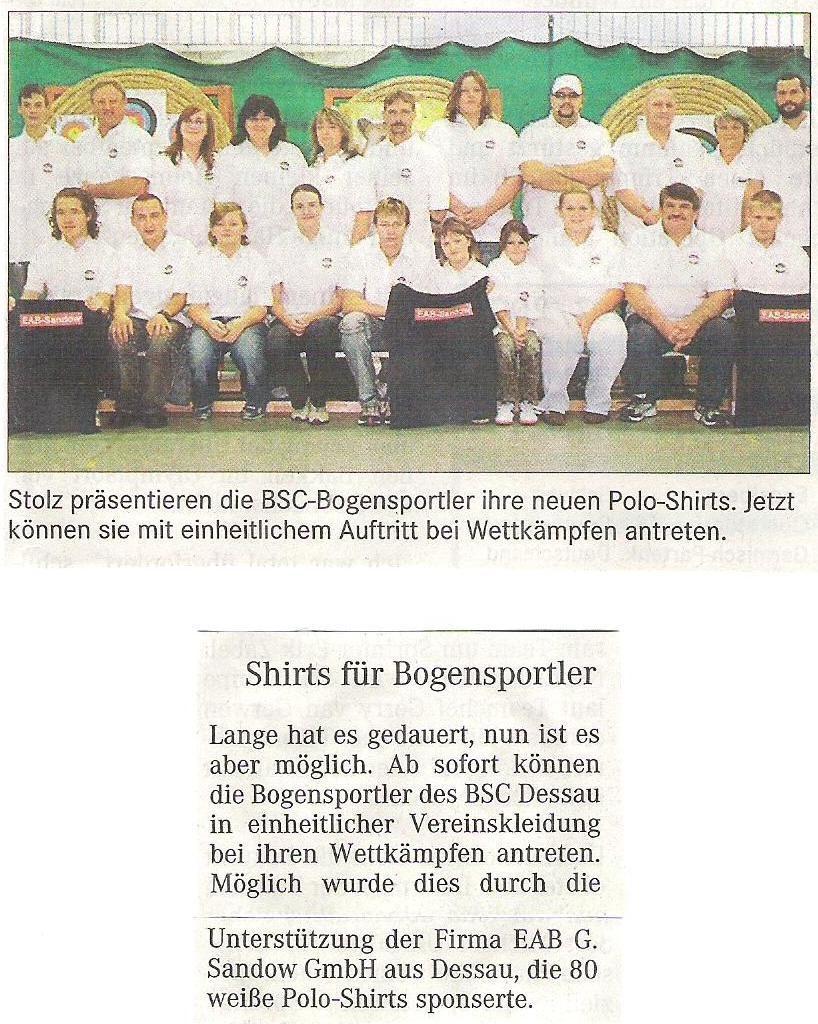 Wir bekommen T-Shirts mit Sponsorenwerbung – Mitteldeutsche Zeitung vom 20.11.2007