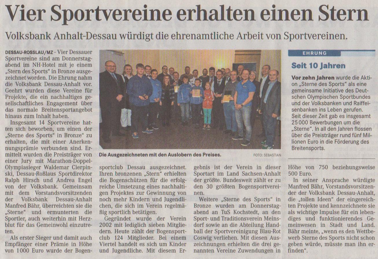 Sterne des Sports – Mitteldeutsche Zeitung vom 08.11.2014