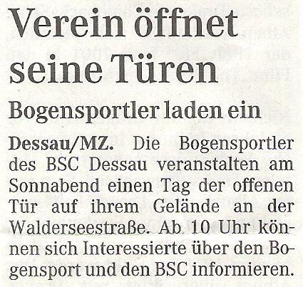 Ankündigung Tag der offenen Tür – Mitteldeutsche Zeitung vom 19.06.2008